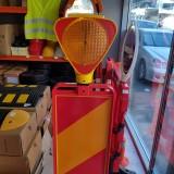 Baliză flexibilă 120cm pentru lucrări cu soclu pentru semne, lămpi — baliza rosu/galben