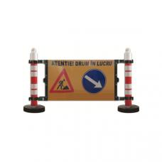 Barieră semnalizare - 2 stâlpi cu greutate 12kg - panou semnalizare lucrări și ocolire dreapta