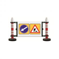 Barieră semnalizare - 2 stâlpi cu greutate 12kg - panou semnalizare lucrări și ocolire stânga