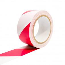 Bandă adezivă pentru marcare, 5cm x 25m, alb/roşu