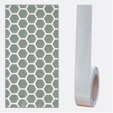 Bandă adezivă reflectorizantă tip fagure (alb) — 5cm x 30m