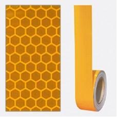 Bandă adezivă reflectorizantă tip fagure (galben) — 5cm x 30m