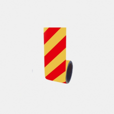Bandă adezivă reflectorizantă (galben/roșu) — 10cm x 10m