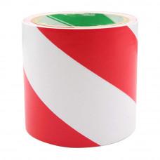 Bandă adezivă pentru marcare, 10cm x 25m, alb/roşu