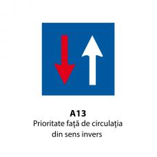 Prioritate faţă de circulaţia din sens invers — Indicator rutier
