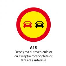 Depășirea autovehiculelor, cu excepția motocicletelor fără ataș, intezisă — Indicator rutier