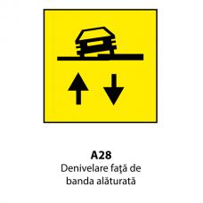 Denivelare faţă de banda alăturată — Indicator rutier