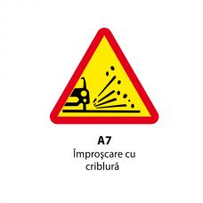 Împroșcare cu pietriș — Indicator rutier