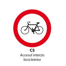 Accesul interzis bicicletelor — Indicator rutier