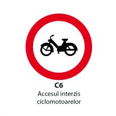 Accesul interzis ciclomotoarelor — Indicator rutier