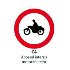 Accesul interzis motocicletelor — Indicator rutier
