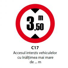 Accesul interzis vehiculelor cu înălţimea mai mare de ... m — Indicator rutier