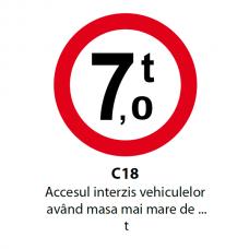 Accesul interzis vehiculelor având masa mai mare de ... t — Indicator rutier
