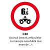 Accesul interzis vehiculelor cu masa pe osia dubla mai mare de ... t
