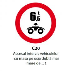 Accesul interzis vehiculelor cu masa pe osia dublă mai mare de ... t — Indicator rutier