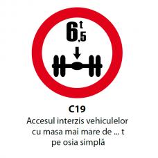 Accesul interzis vehiculelor cu masa mai mare de ... t pe osia simplă — Indicator rutier
