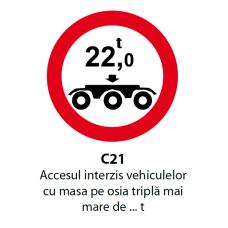 Accesul interzis vehiculelor cu masa pe osia triplă mai mare de ... t — Indicator rutier