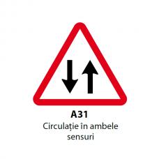 Circulaţie în ambele sensuri — Indicator rutier