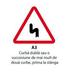 Curbă dublă sau o succesiune de mai mult de două curbe, prima la stânga — Indicator rutier