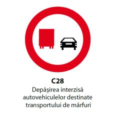 Depăşirea interzisă autovehiculelor destinate transportului de mărfuri — Indicator rutier