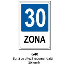 Zonă cu viteză recomandată 30 km/h — Indicator rutier