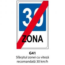 Sfârşitul zonei cu viteză recomandată 30 km/h — Indicator rutier
