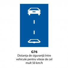 Distanţa de siguranţă între vehicule pentru viteze de cel mult 50 km/h — Indicator rutier
