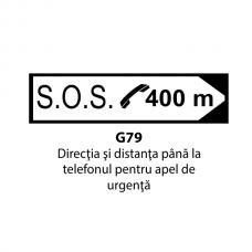 Direcţia şi distanţa până la telefonul pentru apel de urgenţă — Indicator rutier