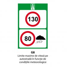 Limite maxime de viteză pe autostradă în funcţie de condiţiile meteorologice — Indicator rutier
