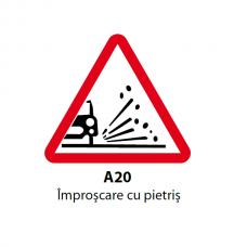 Împroşcare cu pietriş — Indicator rutier