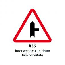 Intersecţie cu un drum fără prioritate (A36) — Indicator rutier