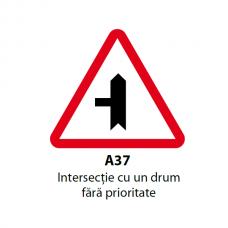 Intersecţie cu un drum fără prioritate (A37) — Indicator rutier