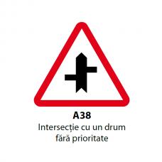 Intersecţie cu un drum fără prioritate (A38) — Indicator rutier