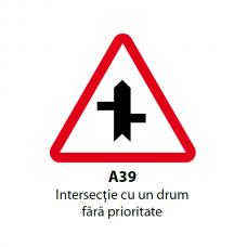 Intersecţie cu un drum fără prioritate (A39) — Indicator rutier