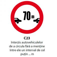 Interzis autovehiculelor de a circula fără a menţine între ele un interval de cel puţin ... m — Indicator rutier