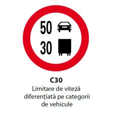 Limitare de viteză diferenţiată pe categorii de vehicule — Indicator rutier