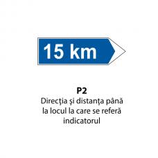 Direcţia şi distanţa până la locul la care se referă indicatorul — Indicator rutier
