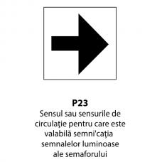 Sensul sau sensurile de circulaţie pentru care este valabilă semnificaţia semnalelor luminoase — Indicator rutier