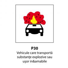 Vehicule care transportă substanţe explozive sau uşor inflamabile — Indicator rutier