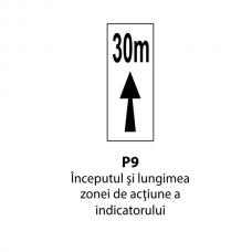 Începutul şi lungimea zonei de acţiune a indicatorului — Indicator rutier