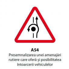 Presemnalizarea unei amenajări rutiere care oferă şi posibilitatea întoarcerii vehiculelor — Indicator rutier