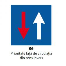 Prioritate față de circulația din sens invers — Indicator rutier
