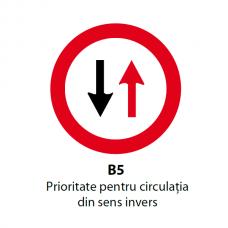 Prioritate pentru circulaţia din sens invers — Indicator rutier