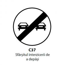 Sfârşitul interzicerii de a depăşi — Indicator rutier