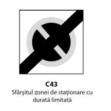 Sfârşitul zonei de staţionare cu durată limitată — Indicator rutier