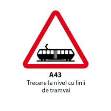 Trecere la nivel cu linii de tramvai — Indicator rutier