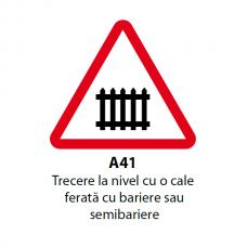 Trecere la nivel cu o cale ferată cu bariere sau semibariere — Indicator rutier