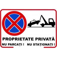 Proprietate privată, nu parcați, nu staționați — semn mare din plastic, 30x40cm