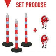 Set produse pentru împrejmuire sau delimitare: 3 stâlpi cu greutate 6.5kg și 2 pungi de lanț plastic 3m