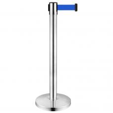 Stâlp cromat ghidare cu bandă retractabilă albastră